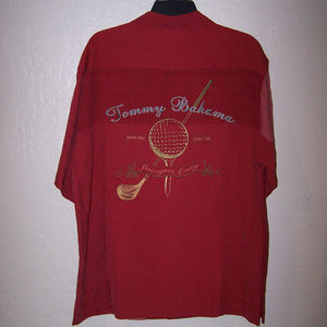 TOMMY BAHAMA EMBROIDERED 100% SILK SHIRT S1978